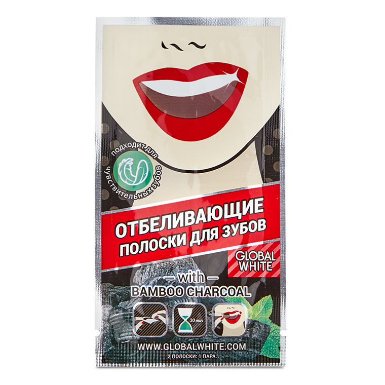 "Teeth whitening strips GLOBAL WHITE ""Bamboo charcoal"" non-peroxide"